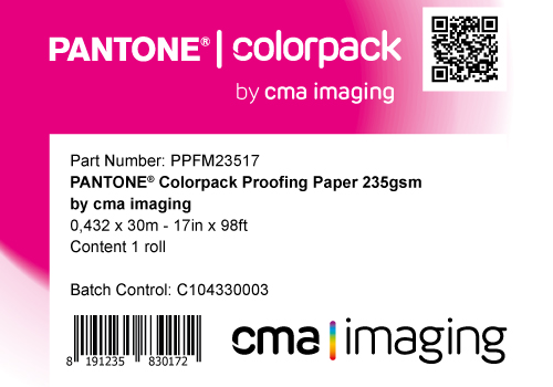 PPFM235 - 17in x 98ft - 43.2cm x 30m: PANTONE® ColorPack Proofing Paper 235 by CMA IMAGING