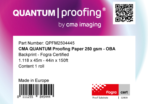 QPFM250 - 44in x 150ft - 1.118m x 45m: CMA Quantum® Proofing Paper 250 OBA Backprint